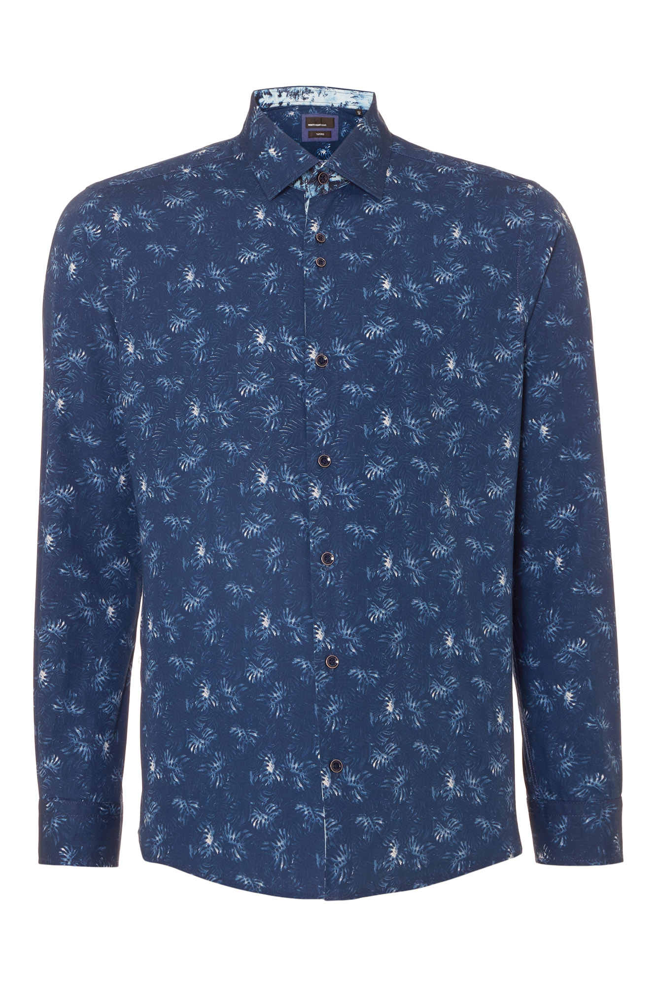 Tapered fit printed cotton casual shirt