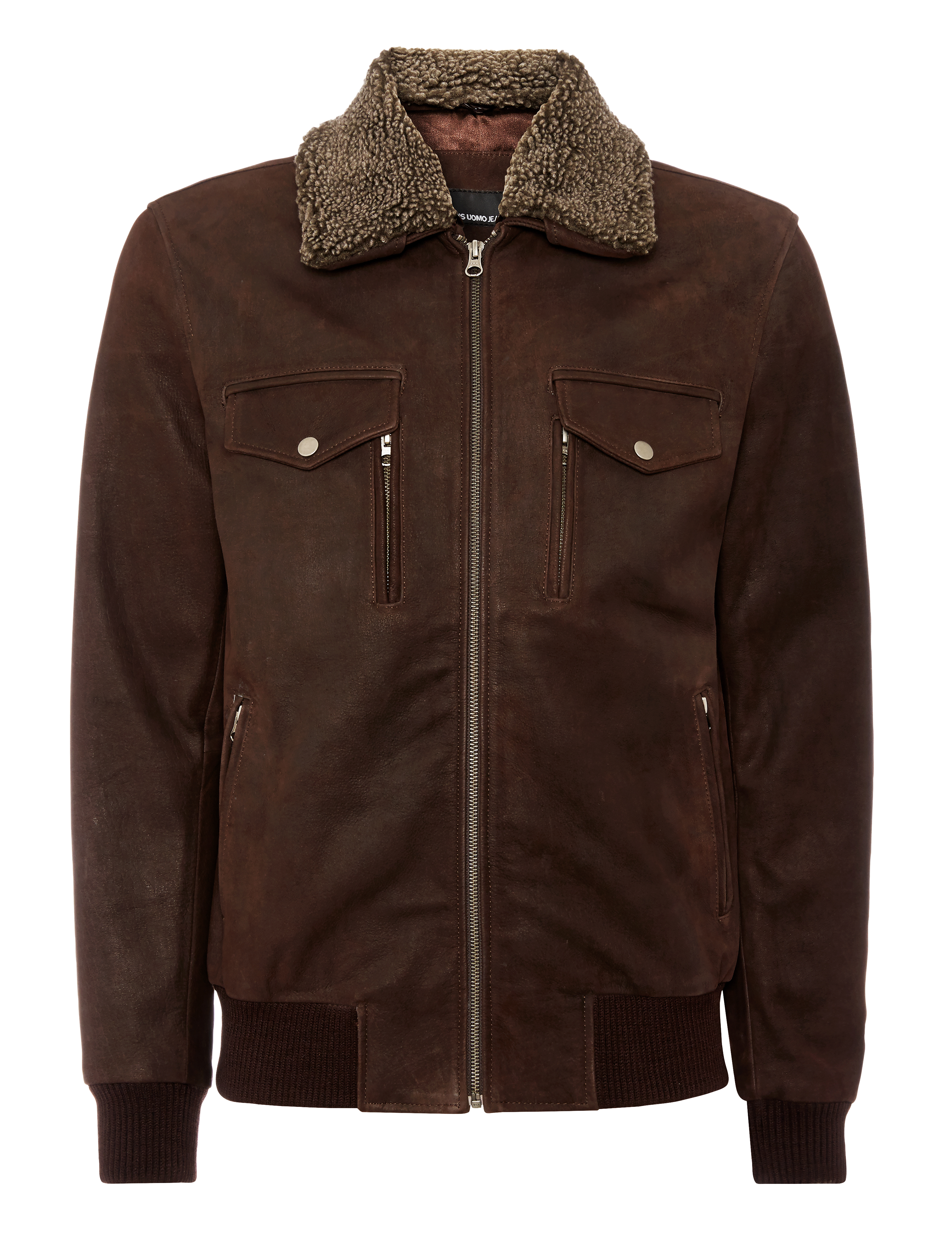 Tapered fit leather flight jacket.