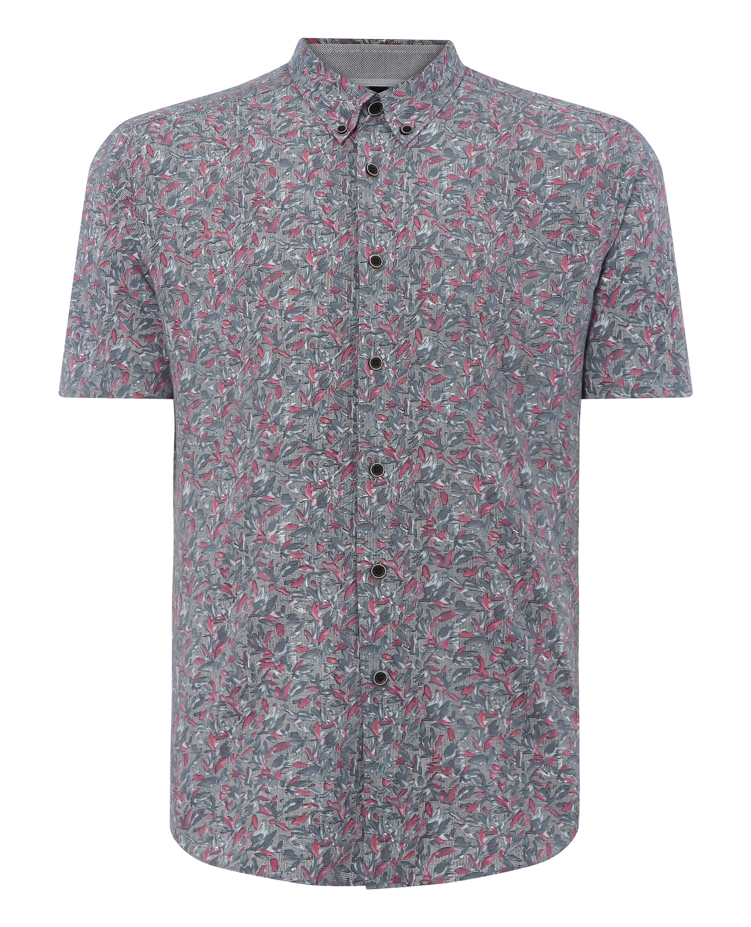 Slim Fit Printed Cotton-Stretch Short Sleeve Shirt