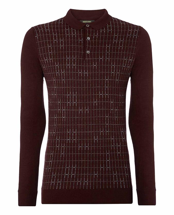 Slim fit merino wool blend long sleeve polo shirt remus uomo for Merino wool shirt long sleeve
