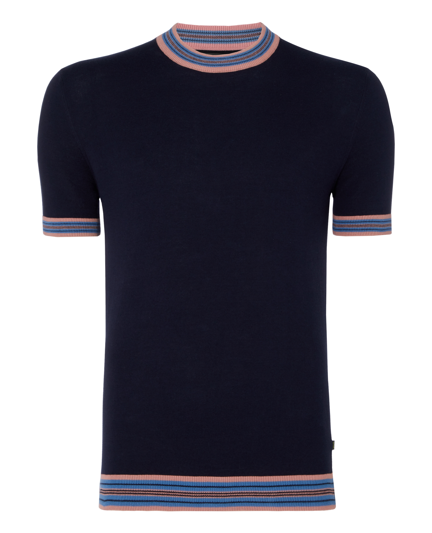 Slim Fit Knitted Cotton Crew Neck T-Shirt