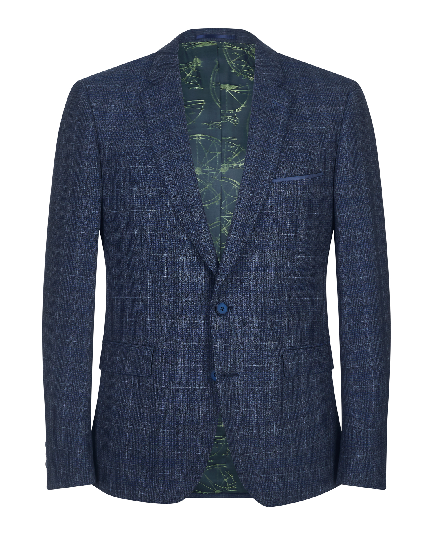 Slim Fit Checked Pure Wool Mix and Match Suit Waistcoat