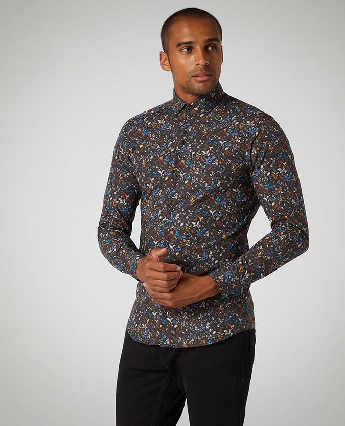 Slim Fit Printed Compact-Cotton Shirt