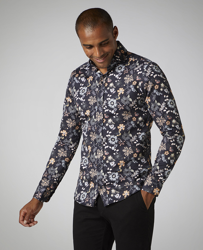 Slim Fit Printed Cotton Satin Shirt