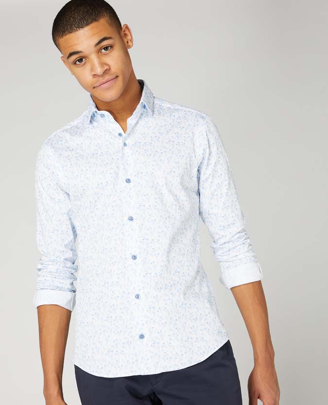 Slim Fit Print Cotton Stretch Shirt
