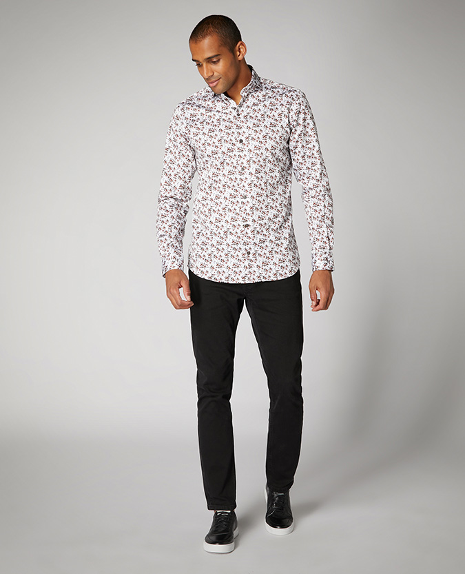 Tapered Fit Printed Cotton Satin Shirt