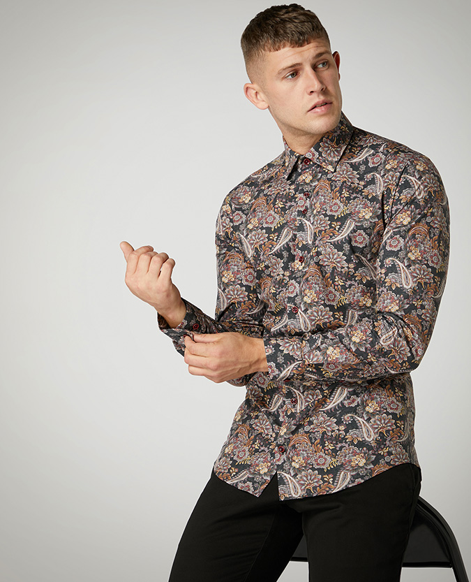 Tapered Fit Printed Compact Cotton Shirt