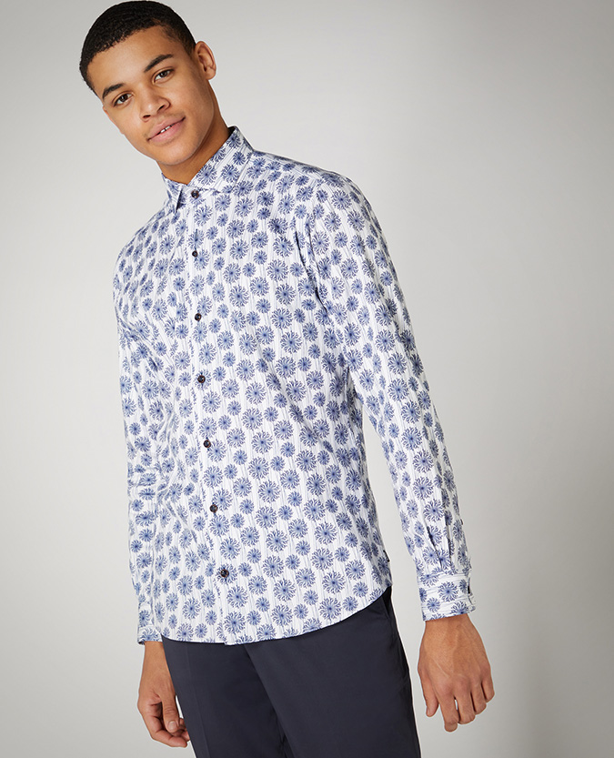 Tapered Fit Print Cotton Stretch Satin Shirt