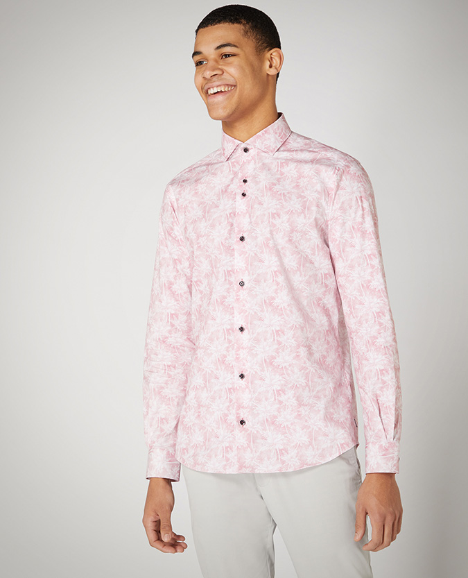 Tapered Fit Print Cotton Stretch Shirt