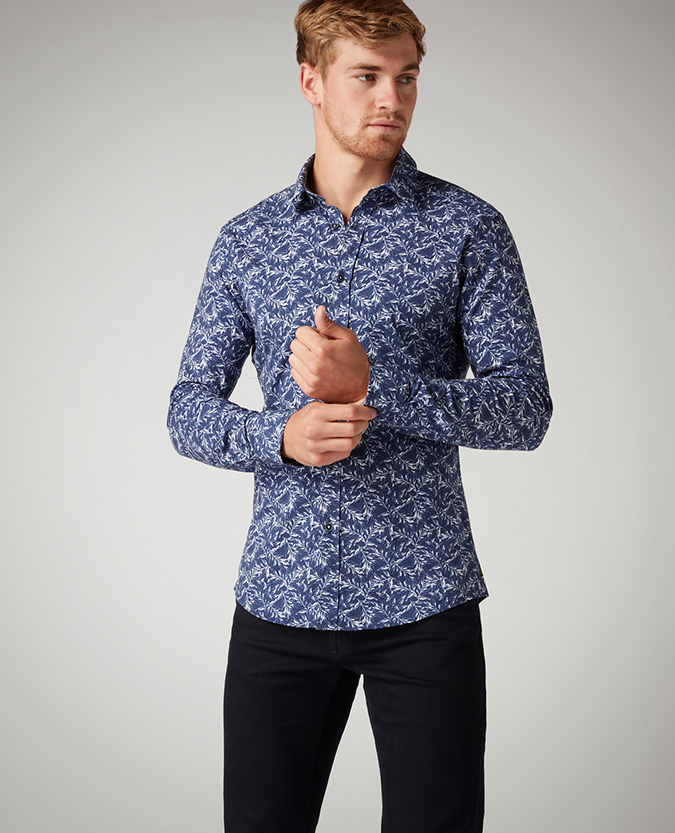 Slim Fit Printed Cotton-Stretch Shirt