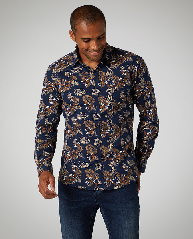 Tapered Fit Print Cotton-Stretch Shirt