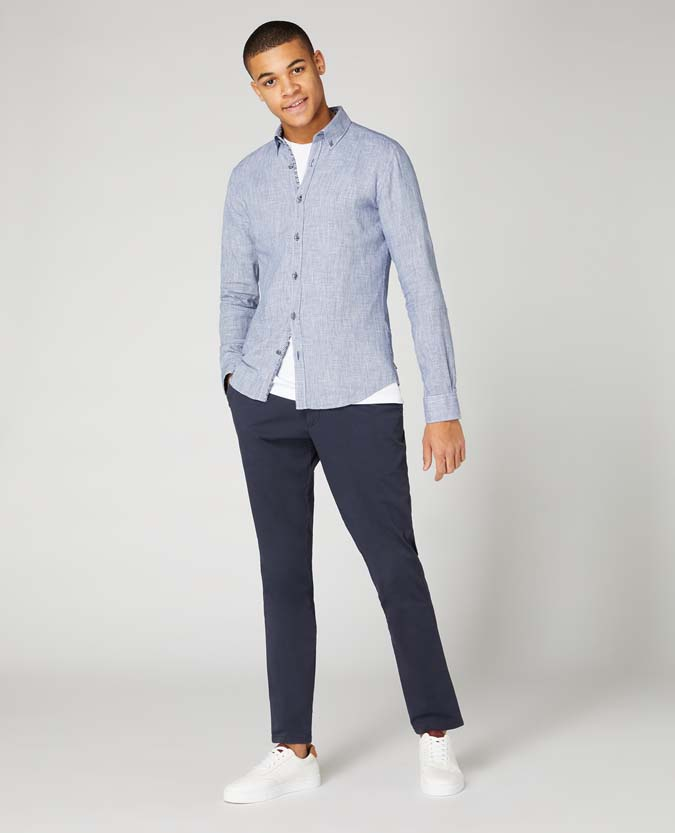 Slim Fit Cotton-Linen Blend Shirt