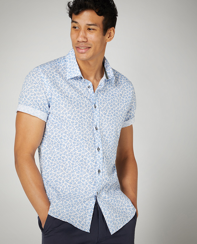 Slim Fit Print Cotton Short Sleeve Shirt