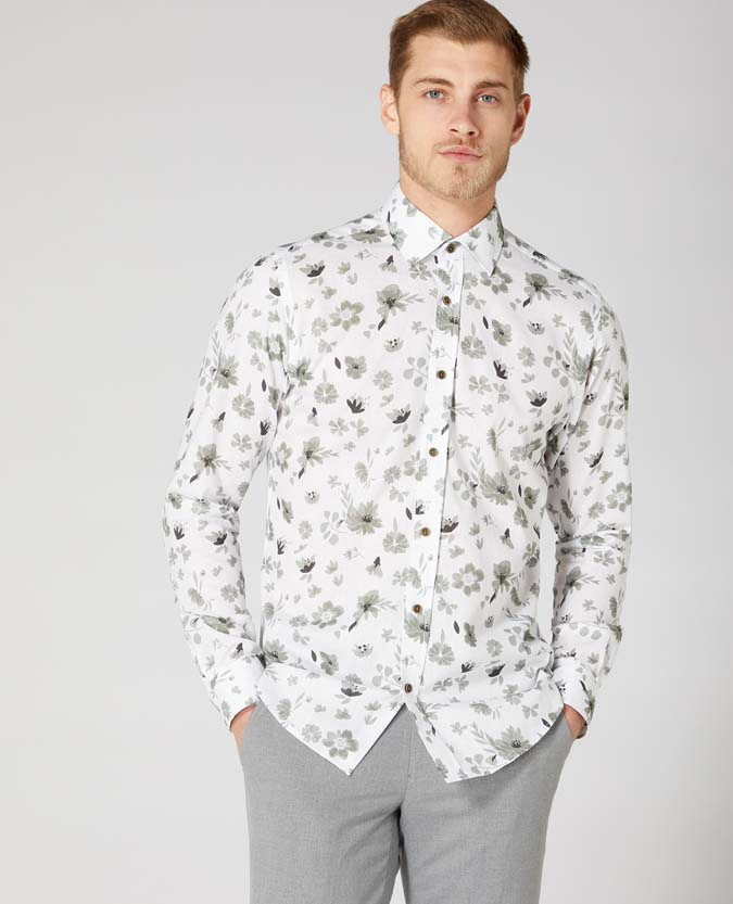 Tapered Fit Cotton Print Shirt