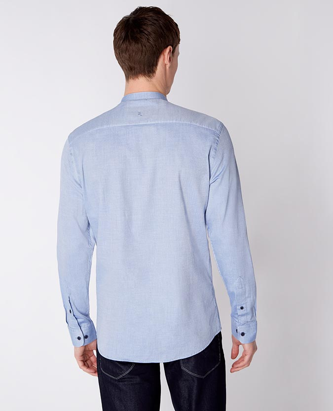 Tapered Fit Cotton Grandad Collar Shirt