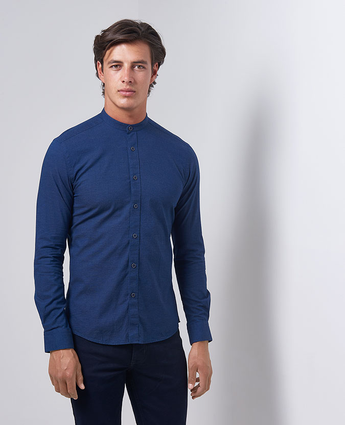 Slim Fit Cotton Grandad Collar Shirt