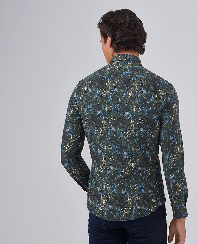 Slim Fit Printed Cotton Shirt
