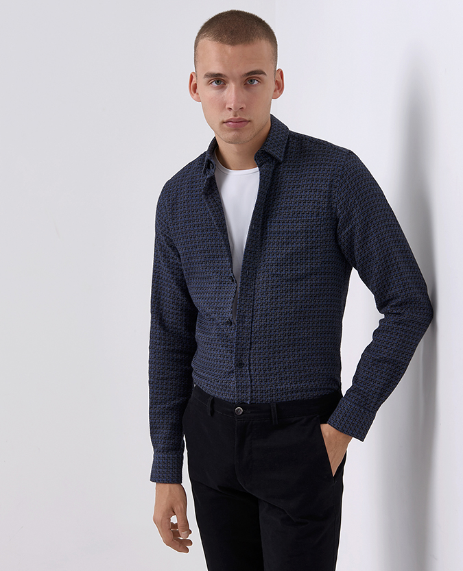 Tapered Fit Checked Cotton Overshirt