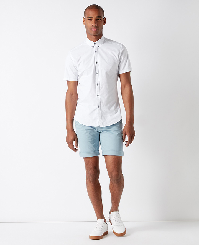 Slim Fit Cotton-Stretch Short Sleeve Shirt