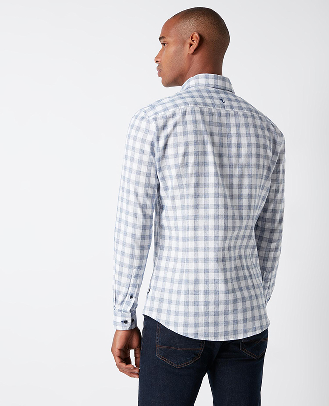 Slim Fit Checked Cotton-Linen Shirt