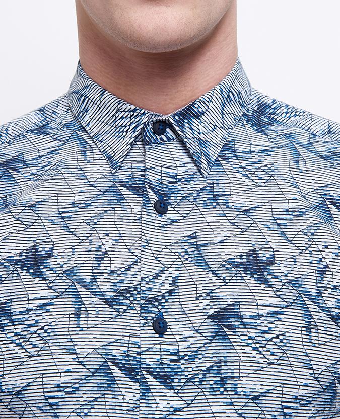 Slim Fit Printed Cotton Short Sleeve Shirt