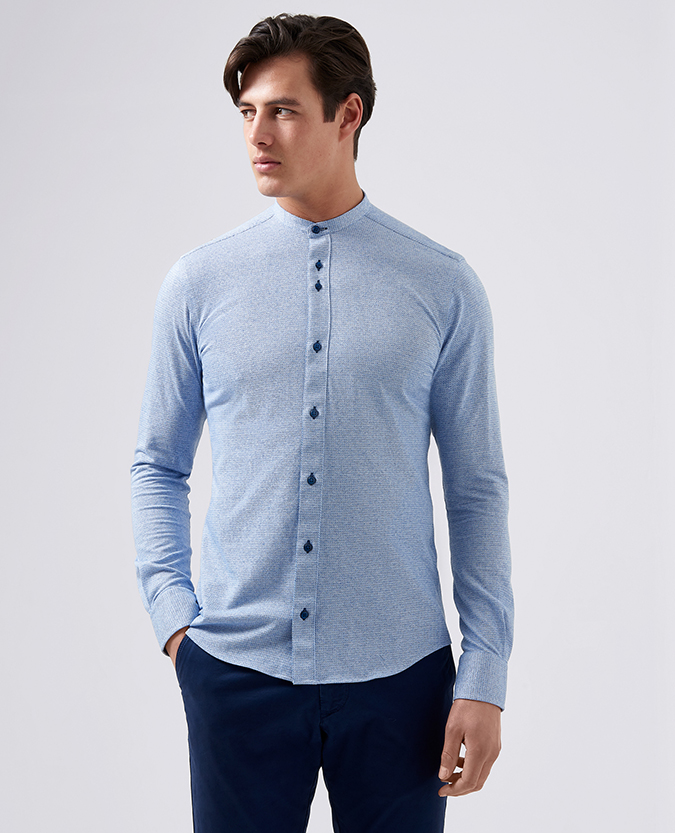 Slim Fit Cotton-Blend Grandad Shirt