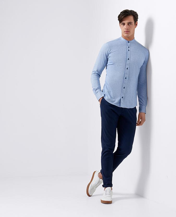 Slim Fit Cotton-Blend Grandad Shirt