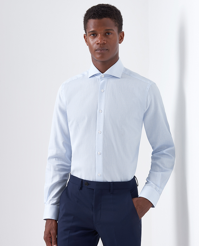 Tapered Fit Microcheck Cotton Shirt