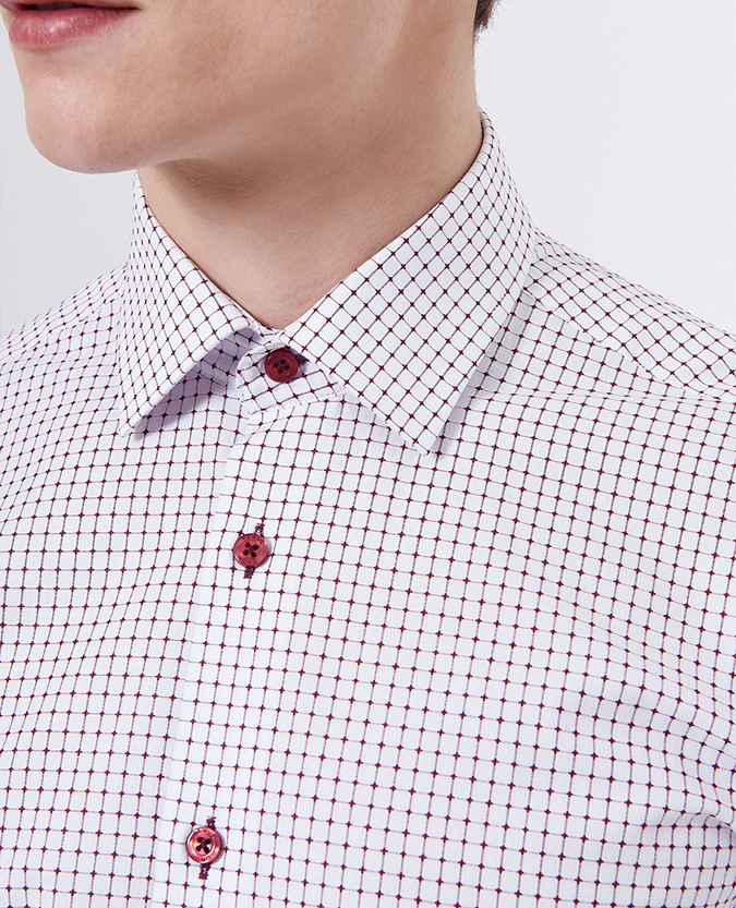 Tapered Fit Cotton Microcheck Shirt