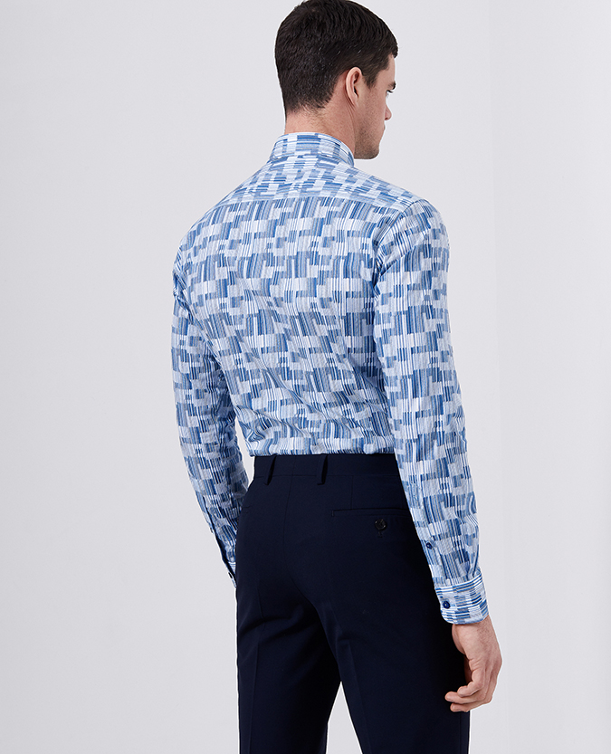 Slim Fit Printed Cotton- Stretch Shirt
