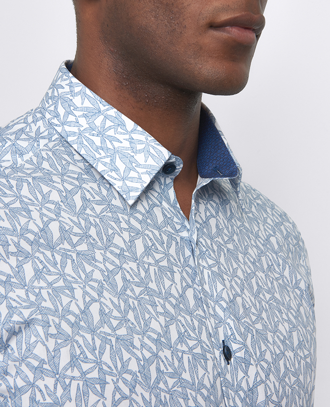 Slim Fit Printed Cotton-Blend Shirt