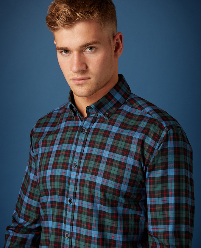 Tapered Fit Checked Cotton Shirt