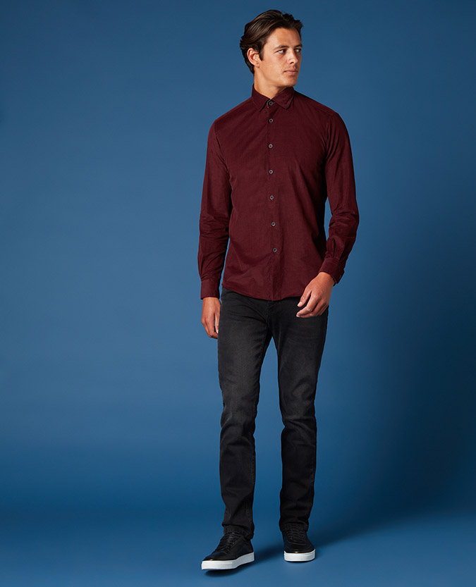 Tapered Fit Cotton Corduroy Shirt