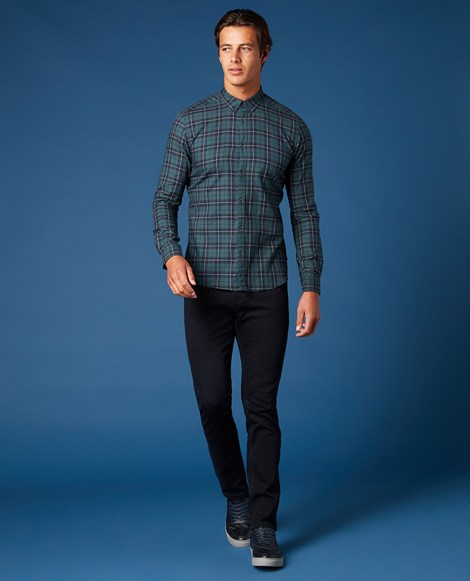 Slim Fit Checked Cotton Shirt