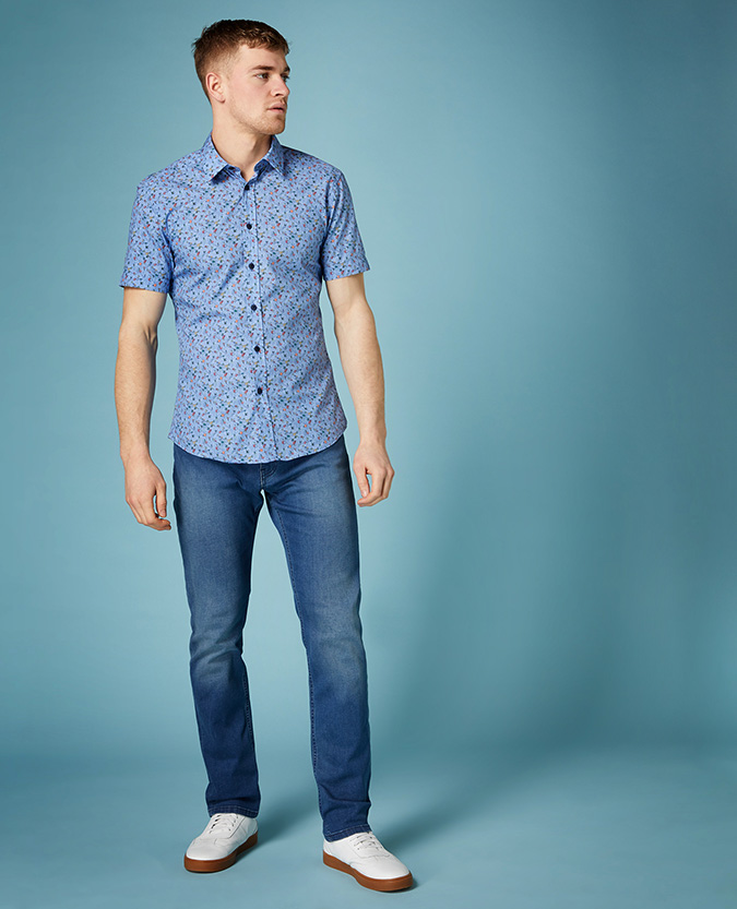 Slim Fit Printed Compact Cotton Short Sleeve Shirt