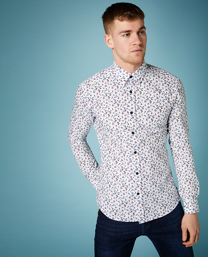 Slim Fit Printed Compact Cotton Shirt