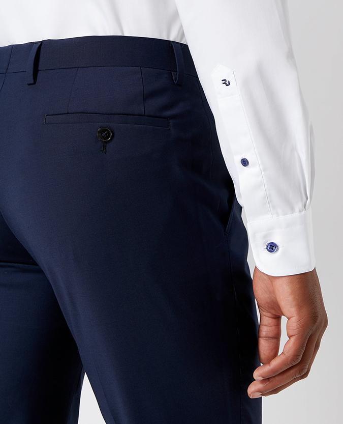 Tapered Fit Split Collar Cotton Shirt