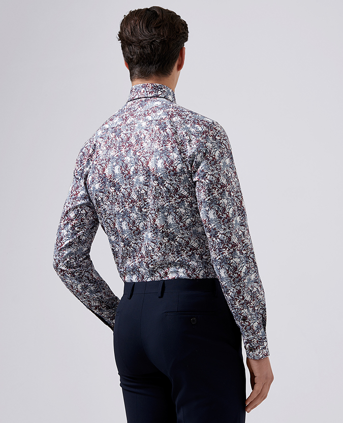 Tapered Fit Printed Cotton Shirt