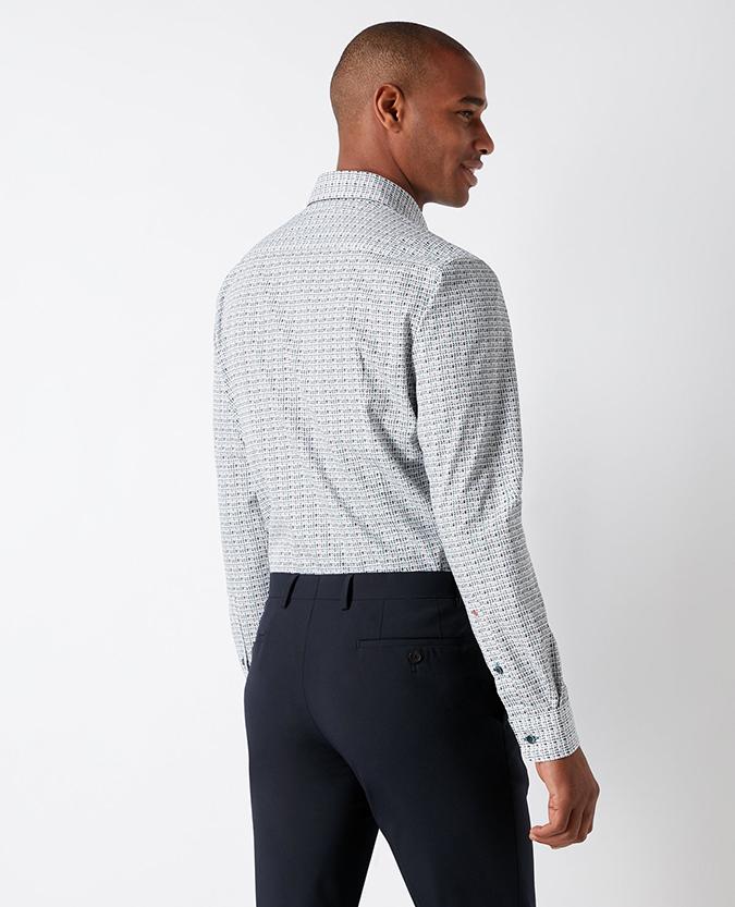 Slim Fit Print Cotton Shirt