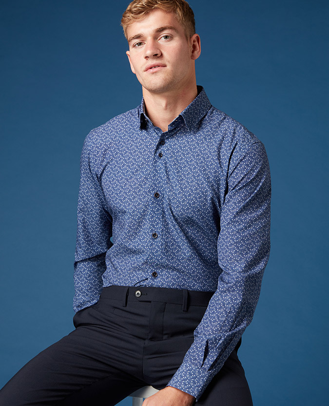 Tapered Fit Printed Cotton-Blend Shirt