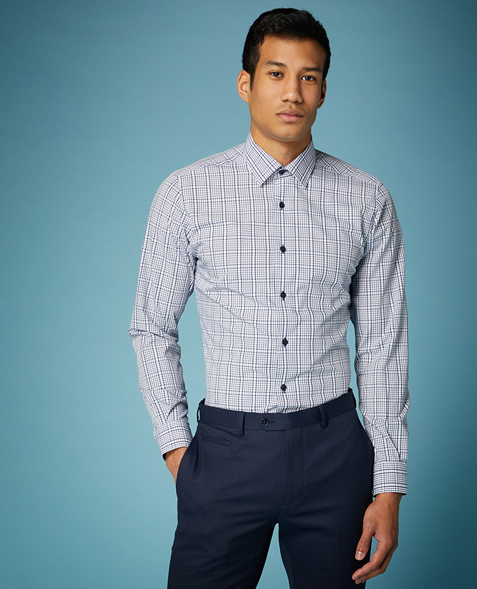 Tapered Fit Checked Bamboo-Blend Shirt