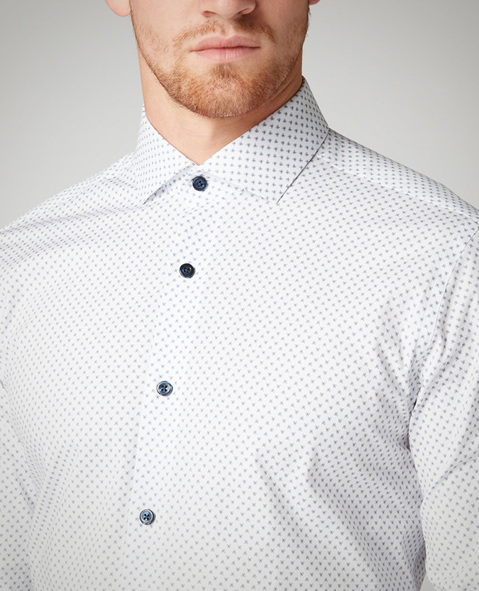 Tapered Fit Printed Cotton-Stretch Shirt