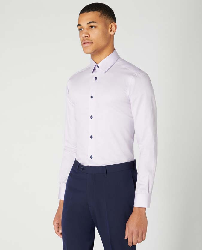 Slim Fit Cotton-Blend Satin Shirt
