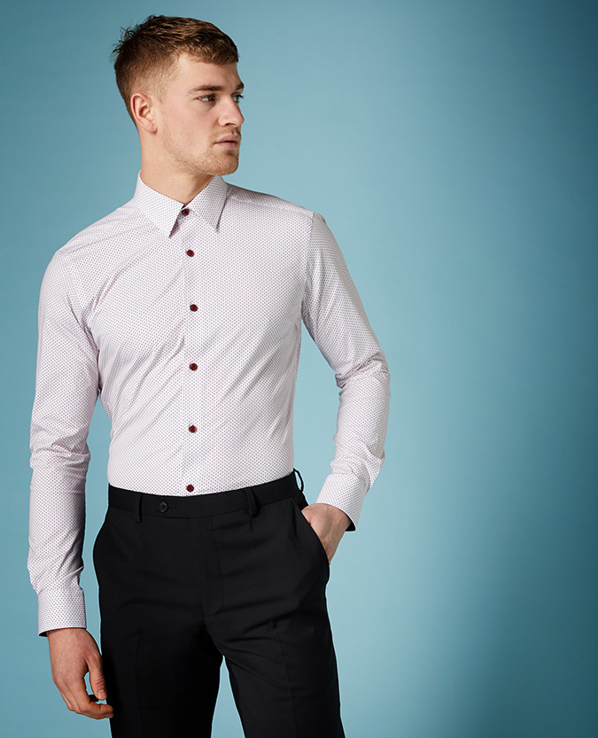 Slim Fit Print Cotton-Stretch Shirt