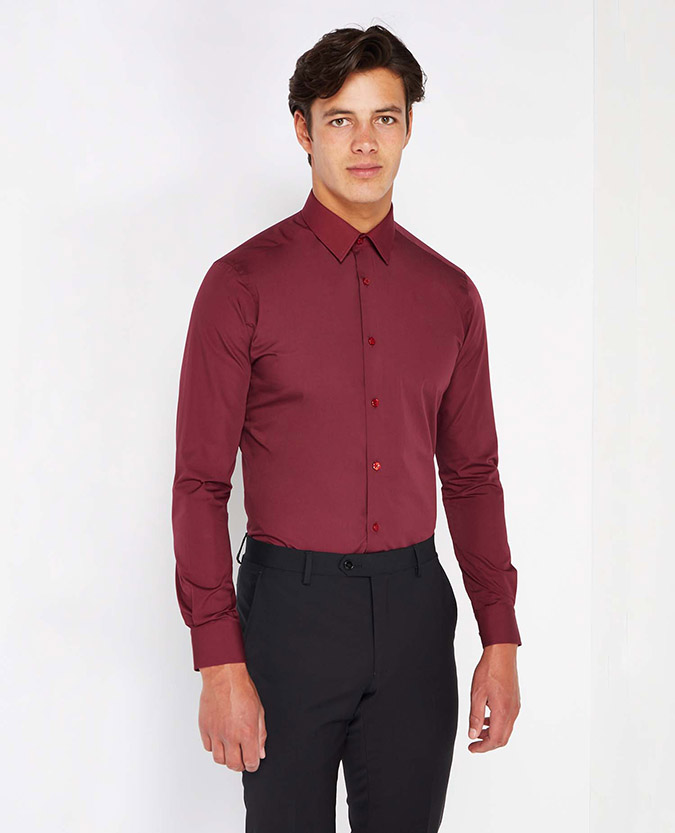 Slim Fit Plain Shirt