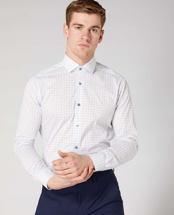 Slim Fit Cotton Stretch Print Shirt
