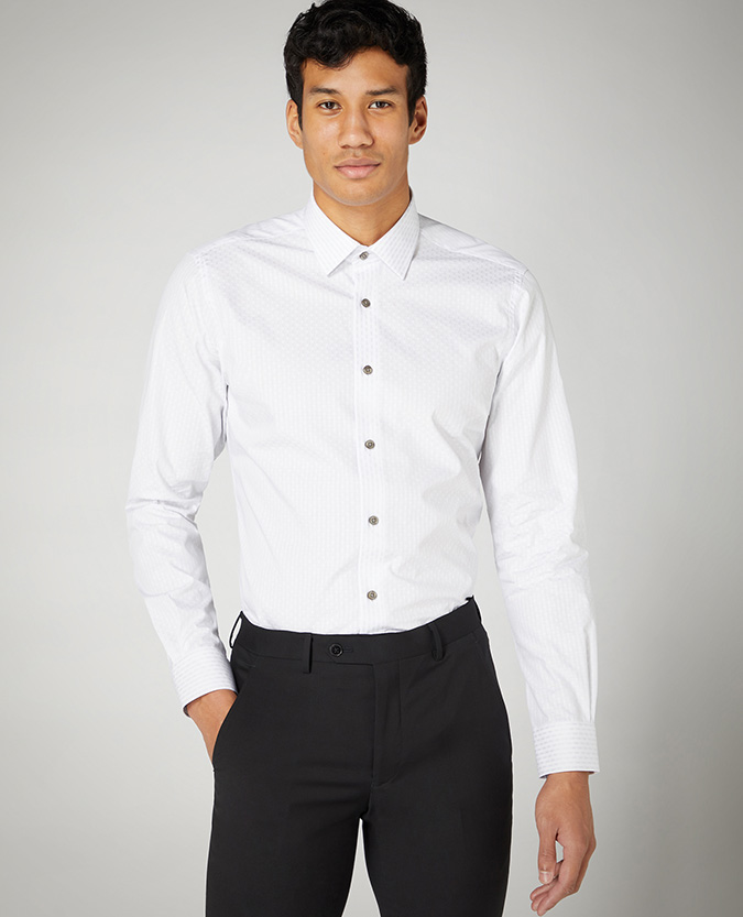 Tapered Fit Striped Cotton Shirt