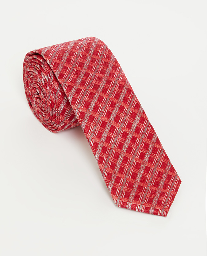 Checked Microfibre Narrow Tie