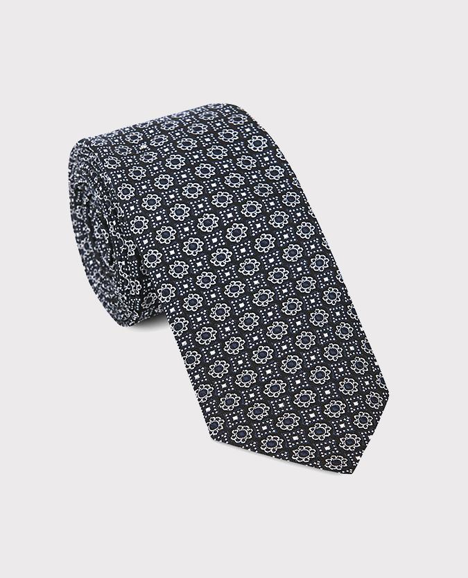 Geometric Microfibre Narrow Tie