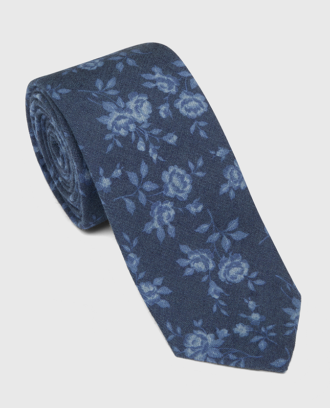 Floral Cotton Narrow Tie